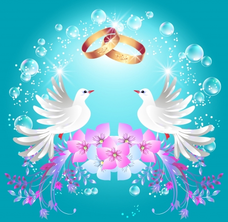 Card with wedding rings and two doves in ornament frame Vector