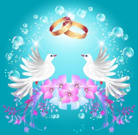 Karta z obrączki i dwa gołębie w klatce ornamentem Zdjęcie Seryjne - 15829881