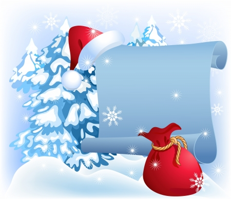 snow drift: Christmas parchment with santa hat and bag Illustration