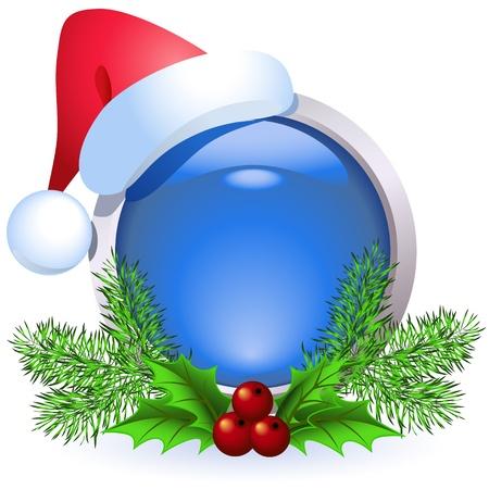 santa cap: Christmas web button with santa cap Illustration