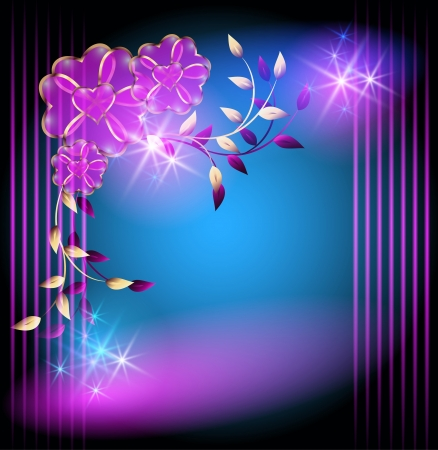 Glowing background with magic flowers and stars Vector
