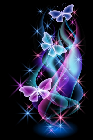Glowing background with smoke and butterflies Stock Illustratie