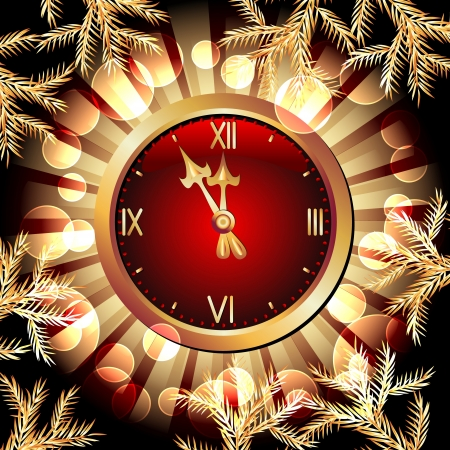 burning time: Glowing background with chimes and Christmas fir branch Illustration