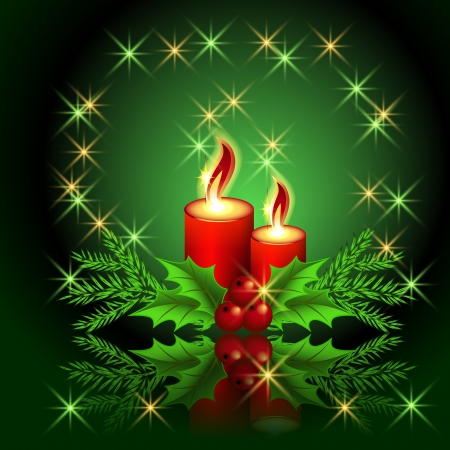 Christmas burning candle and stars Vector