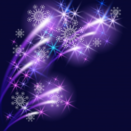neon glow: Christmas background with snowflakes and salute