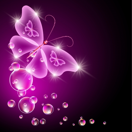 Glowing background with transparent butterfly and bubbles Vector