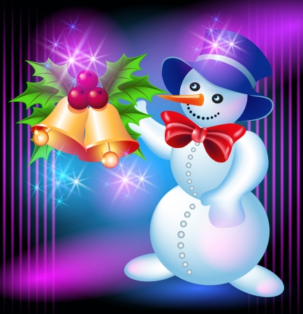 Christmas greetings card with Snowman and bells Vector