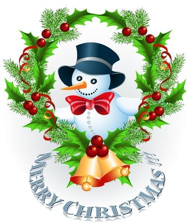 Christmas wreath, bells and Snowman Stock Vector - 16265732