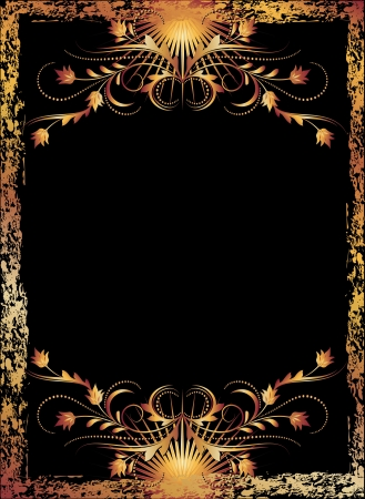 edge design: Black background with  luxurious copper ornament Illustration