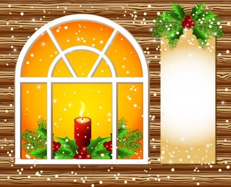 marcos decorados: Navidad ventana con velas y decorado con papel para el texto