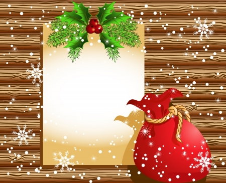 insertion: Christmas paper signboard with santa bag