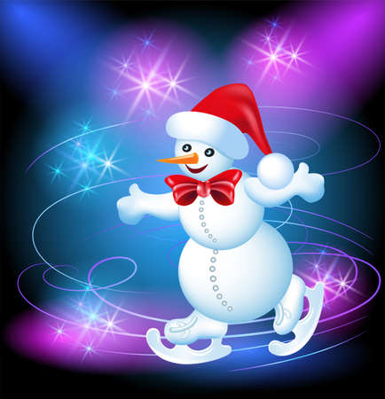 ice rink: Happy and merry Snowman in a hat on a skating rink Illustration
