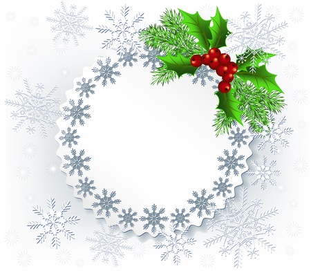 holiday celebrations: Lace background with spruce twig for image or text
