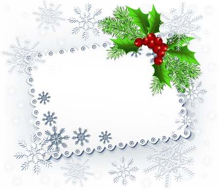 Lace background with spruce twig for image or text