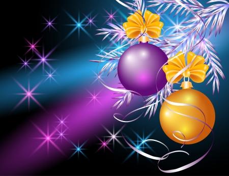 Tarjeta de Navidad con bolas de color amarillo y violeta Vectores
