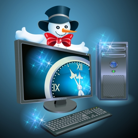 Christmas Snowman advertises computer equipment Vector
