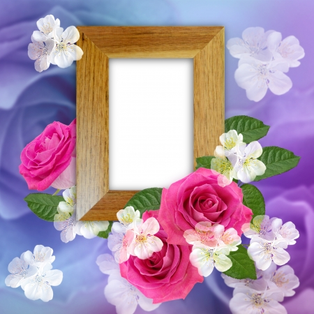 Wooden photo frame with yellow and pink roses  photo