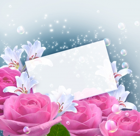 Pink roses, lilies and paper for your text photo