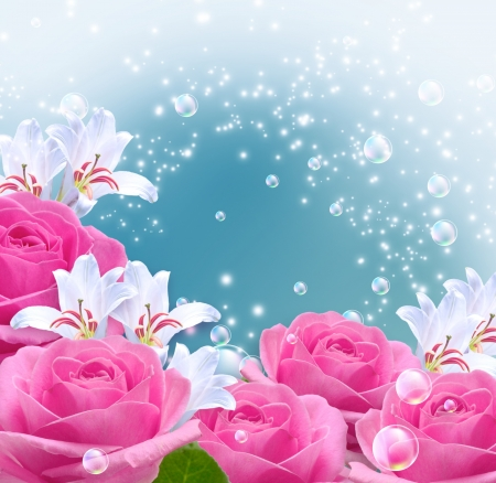 Pink roses, lilies and bubbles photo