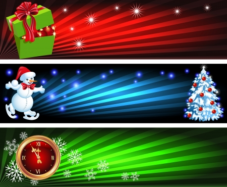 Set Christmas backgrounds with gift box, Snowman and chimes Vector