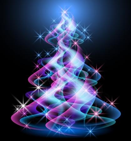 幻想的なクリスマス ツリー  イラスト・ベクター素材