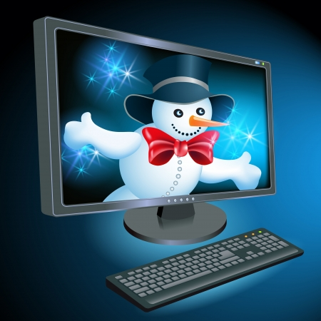 Monitor and keyboard with Christmas Snowman on  desktop Vector