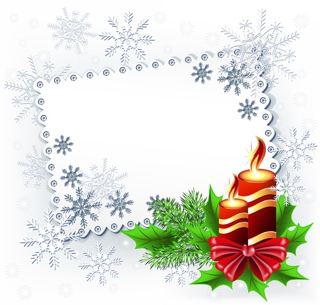 lace edges: Lace background with spruce twig and candles for image or text