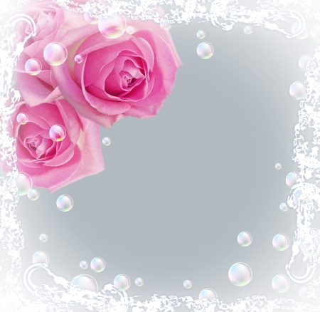 Card with bouquet roses and bubbles   photo