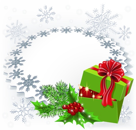 Gift box with Christmas decoration napkin Stock Vector - 16726160