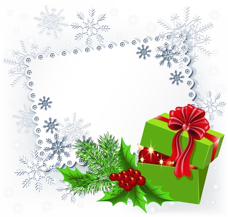 Gift box with Christmas decoration napkin Vector