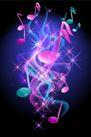 Glowing background with musical notes, smoke and stars   Stock Illustratie