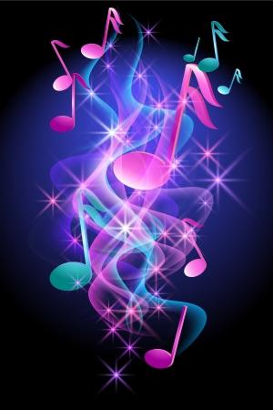 note musicali: Glowing sfondo con le note musicali, il fumo e le stelle