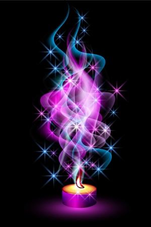 Burning candle and magic stars Illustration