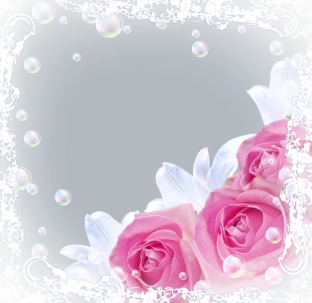 pink bubbles: Card with bouquet roses and lilies