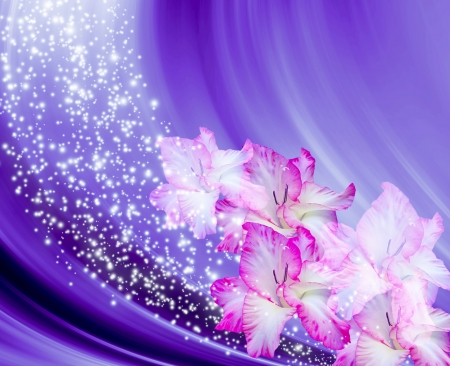 Abstract background with gladioli and stars photo