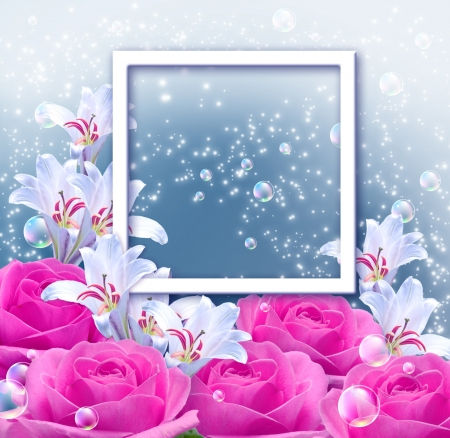 Pink roses, lilies and photo frame Stock Photo - 17014717