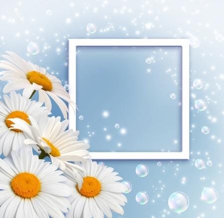 blue daisy: Daisy, bubbles and photo frame