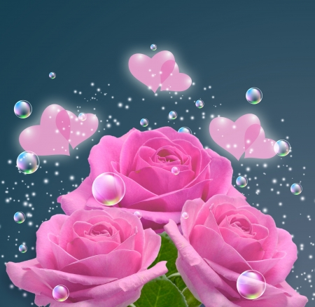 Pink roses, hearts and bubbles  photo