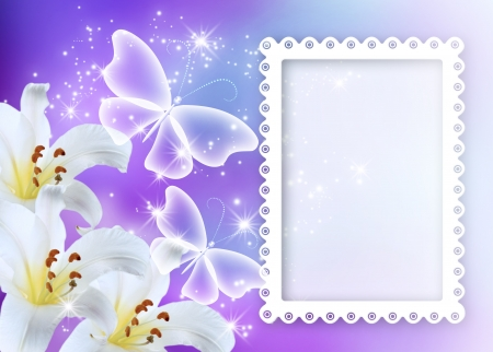 Lilies blossom with transparent butterflies and photo frame photo