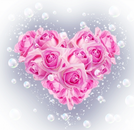 Card with bouquet roses in heart shape and bubbles Stock Photo - 17337476