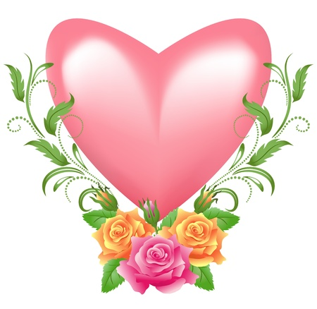 Pink heart with rose Stock Vector - 17363521