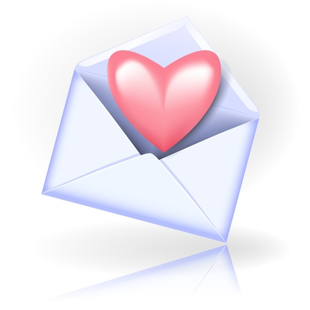 glued: Open envelope with valentine heart
