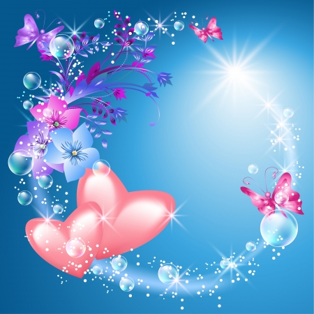 bubble sheet: Pink hearts with flowers and sunshine