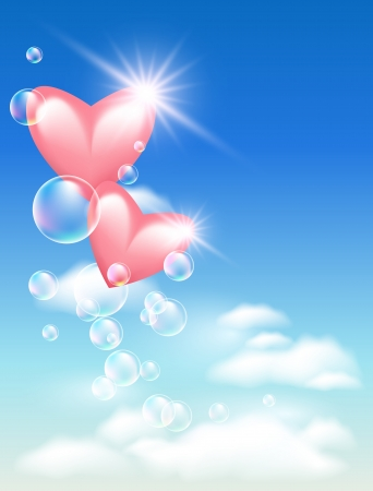romantic sky: Pink hearts with bubbles in the sky Illustration