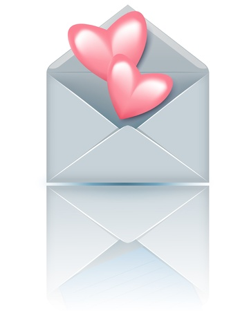 glued: Open envelope with valentine hearts