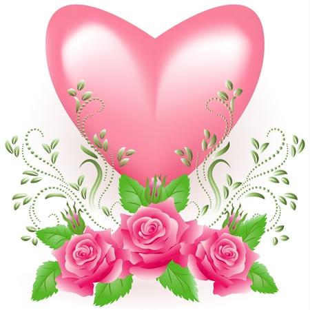 corazon rosa: Coraz�n rosa con rosa Vectores