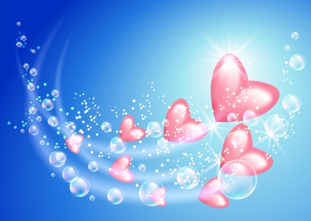 pink bubbles: Pink hearts with bubbles and stars Illustration
