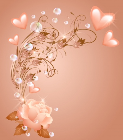 pink bubbles: Rose with hearts and bubbles