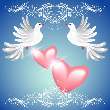 Two dove on blue background with pink hearts and white ornament Vector