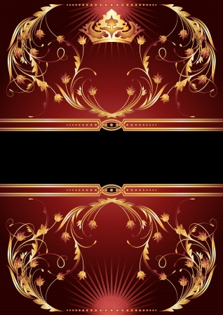Background with luxurious golden ornament and crown Vector